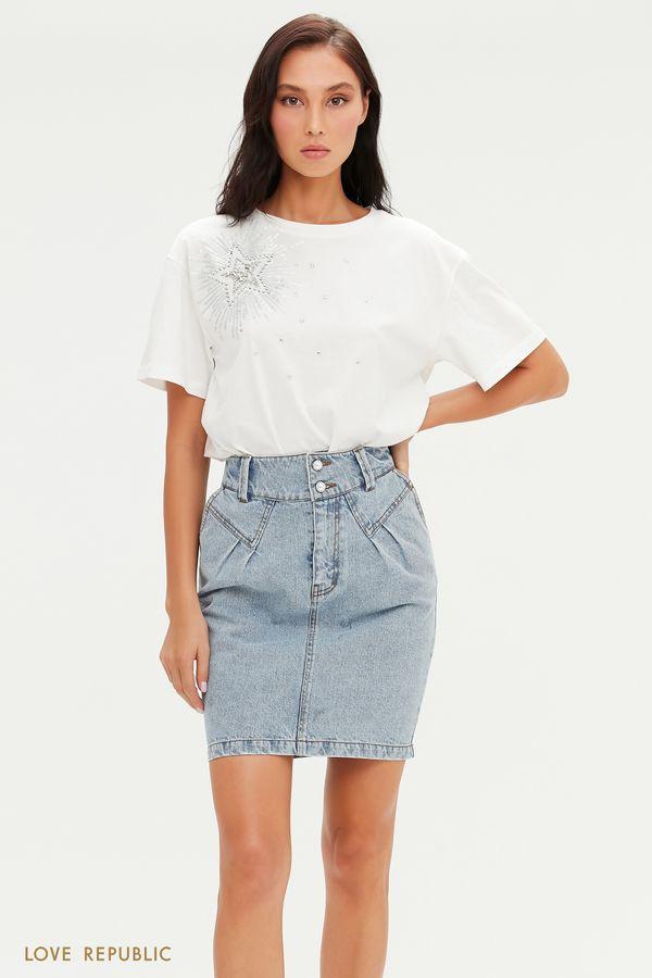 Джинсовая юбка мини с жемчужными пуговицами 1151402209-103
