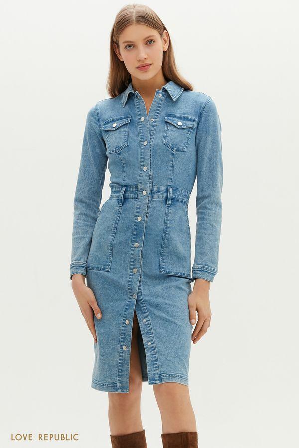Приталенное джинсовое платье на заклепках 1151404517-102