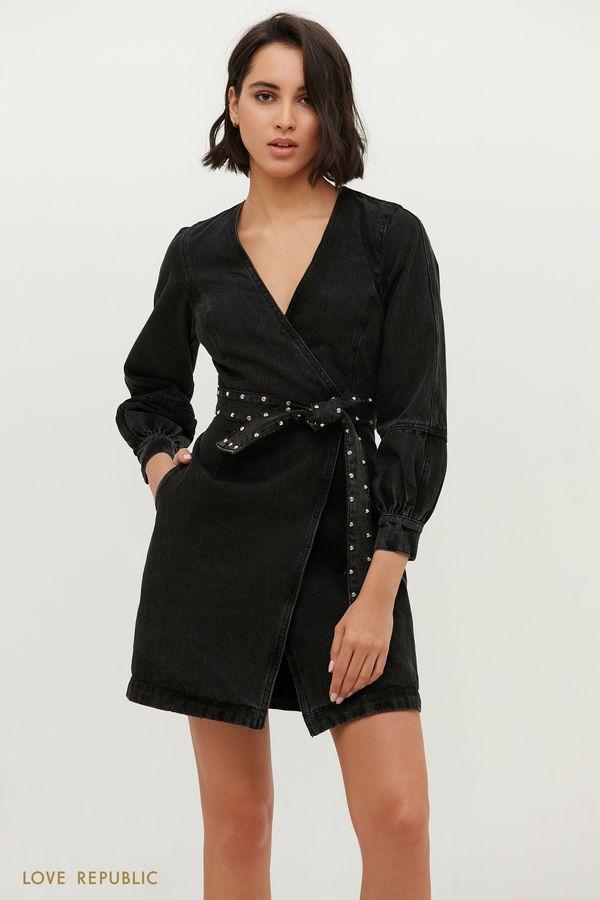 Джинсовое платье мини с запахом и поясом со стразами 1151407509-108
