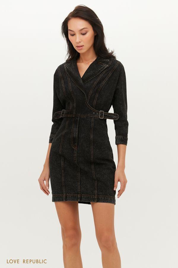 Джинсовое платье мини с запахом и декоративными ремешками 1151407516-108