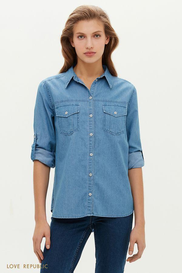Джинсовая рубашка с нагрудными карманами 1151423344-102