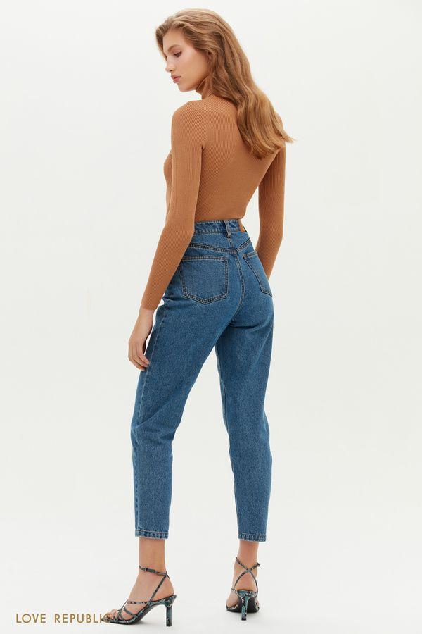 Укороченные джинсы mom на кокетке 1151426742-103