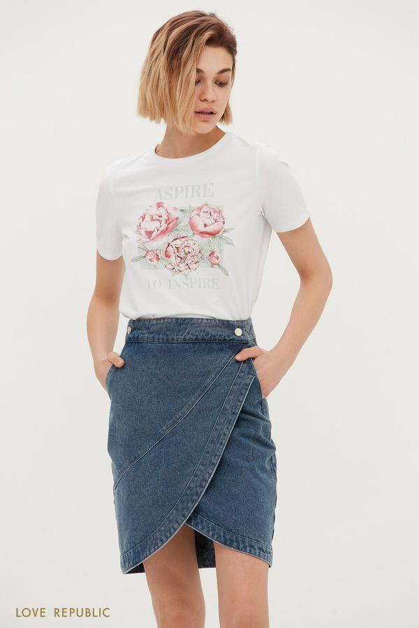 Джинсовая мини-юбка цвета индиго с выразительным запахом 1151433234-103