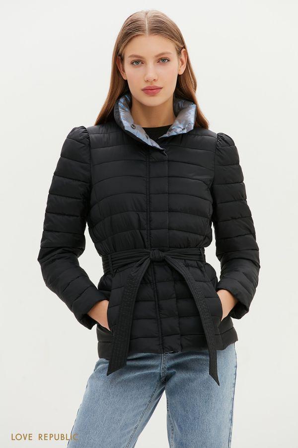 Черная стеганая куртка с поясом на талии 1151504105-50