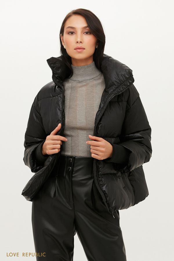 Объемная стеганая куртка с высоким воротом 1151509103-50