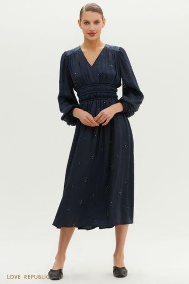 Платье с плиссировкой на талии 1152001504