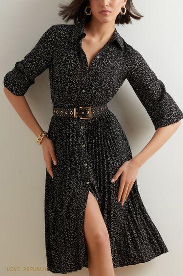 Платье миди с плиссированным подолом 1152005512