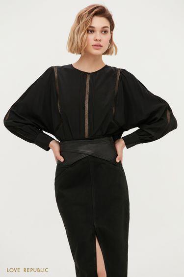 Свободная блузка с элементами кружева 1152014310