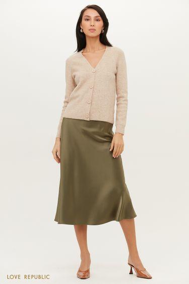 Плотная юбка миди в бельевом стиле с атласным блеском 1152025216