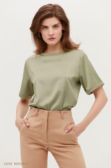 Атласная блузка с коротким рукавом 1152033308