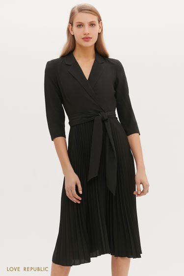 Чёрное платье-миди с лацканами и плиссированным подолом 1152034566