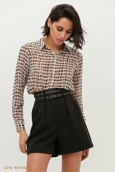 Рубашка с абстрактным серым принтом 1152036335