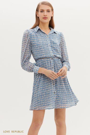 Свободное платье-миди с абстрактным голубым принтом 1152038567
