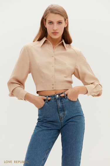 Укороченная рубашка с отложным воротничком 1152047333