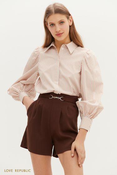 Рубашка с рукавами-буфами и графичным принтом 1152054336