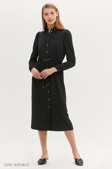 Приталенное платье-миди на пуговицах 1152056571