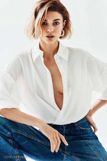 Белая блузка с объемными рукавами-воланами 1152058345