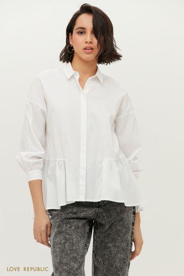 Белая блузка с воланом по нижнему краю 1152060351