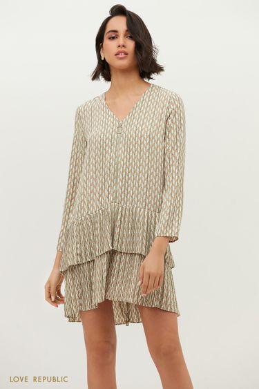 Свободное платье на молнии с графичным принтом 1152061578
