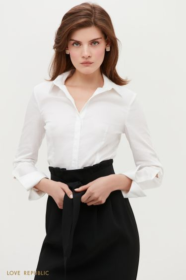 Белая рубашка с фигурными манжетами 1152066352