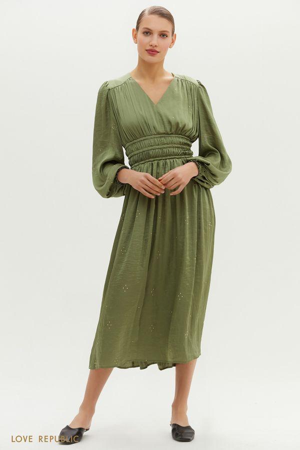 Платье с плиссировкой на талии 1152001504-13