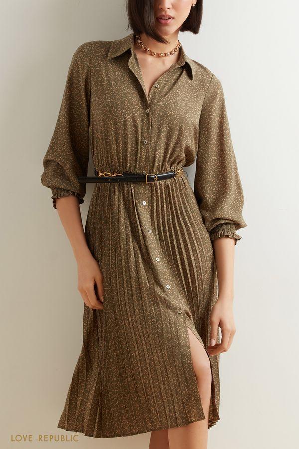 Платье миди с плиссированным подолом 1152005512-53