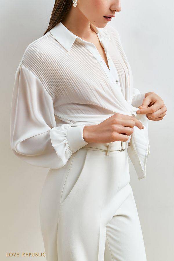 Блузка с плиссированными вставками 1152008309-47