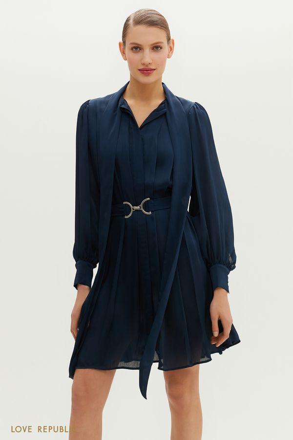 Плиссированное платье миди с декоративной лентой на шее 1152012537-13