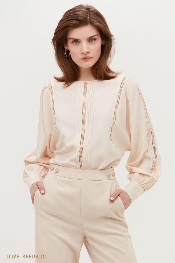 Свободная блузка с элементами кружева 1152014310-50