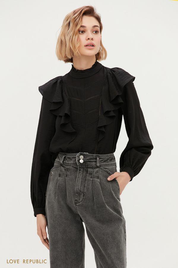 Чёрная блузка с фигурными оборками 1152015311-50