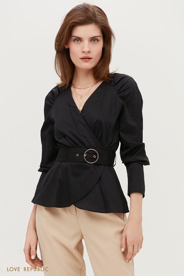 Блузка на поясе с запахом 1152016312-50