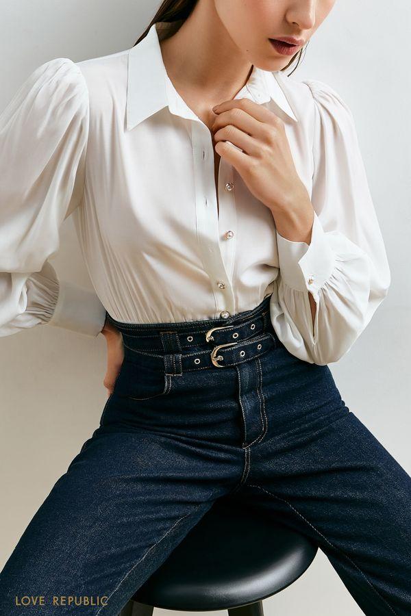 Блузка с акцентной кокеткой 1152019313-47