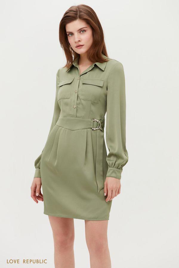 Платье мини с поясом и накладными карманами 1152022523-13