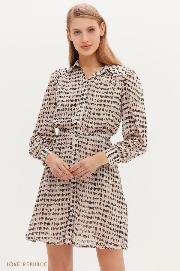 Лёгкое платье мини с графичным принтом 1152036567-5