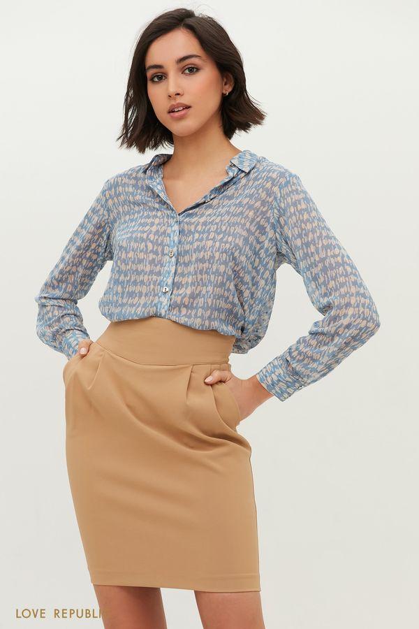 Рубашка с абстрактным голубым принтом 1152038335-42