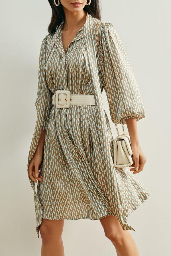 Лёгкое платье с фисташковым принтом и лентой на шее 1152042537-15