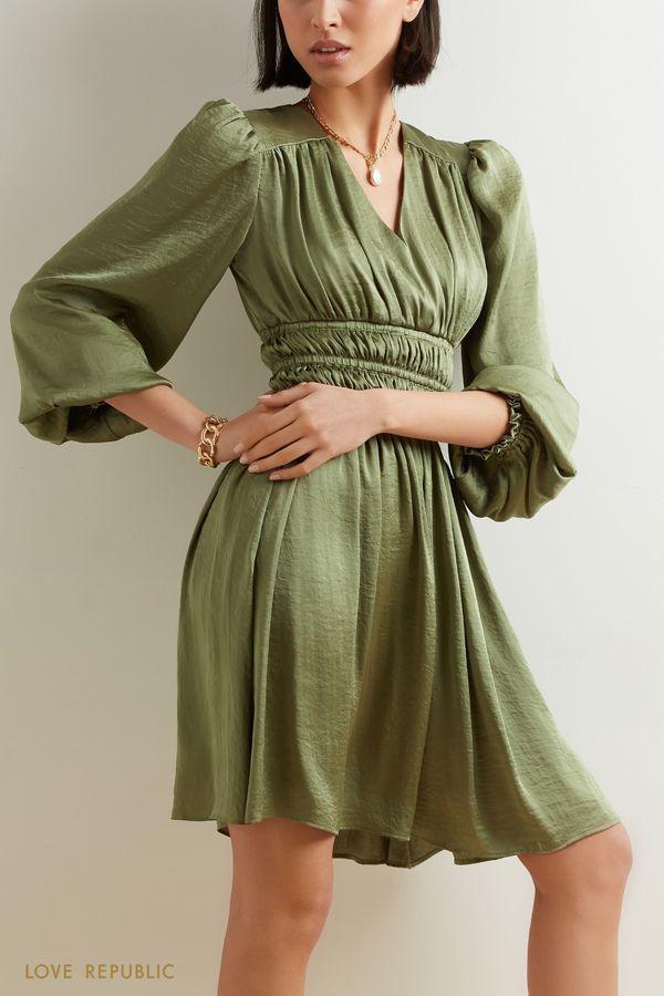 Струящееся платье миди с плиссировкой на талии 1152043532-93