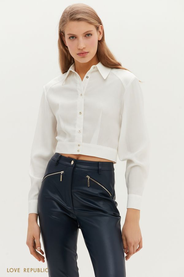 Укороченная рубашка с отложным воротничком 1152047333-62