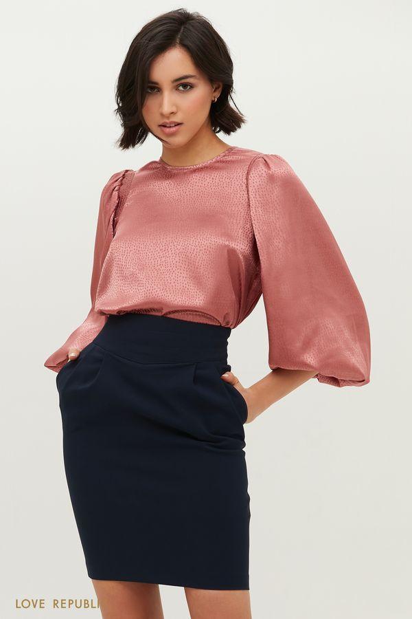 Атласная блузка с объемными рукавами и принтом 1152048334-1