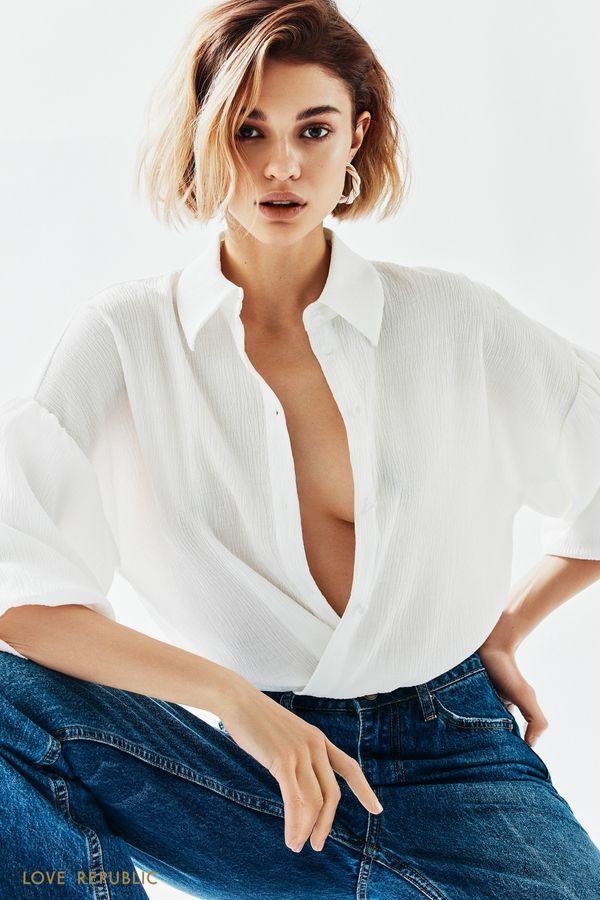 Белая блузка с объемными рукавами-воланами 1152058345-1