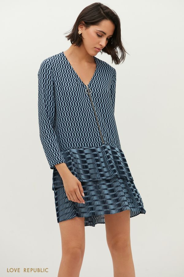 Свободное платье на молнии с графичным принтом 1152061578-53