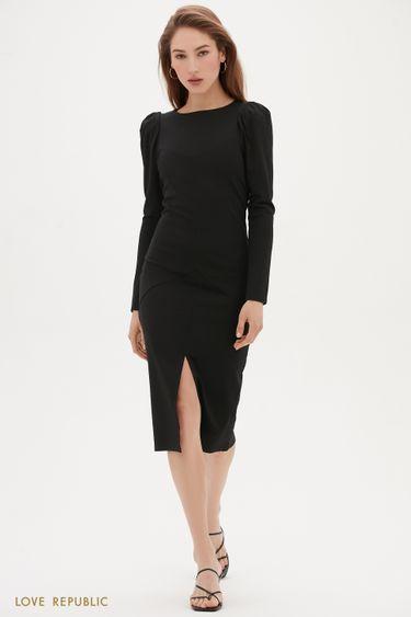 Платье-миди с объёмными рукавами и аккуратным разрером 1152104505