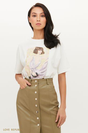 Выразительная футболка с арт-принтом 1152131341