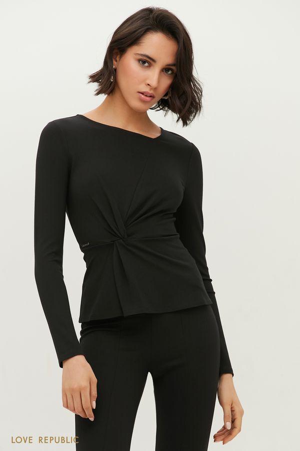 Блузка с трендовой сборкой на талии 1152104305-60