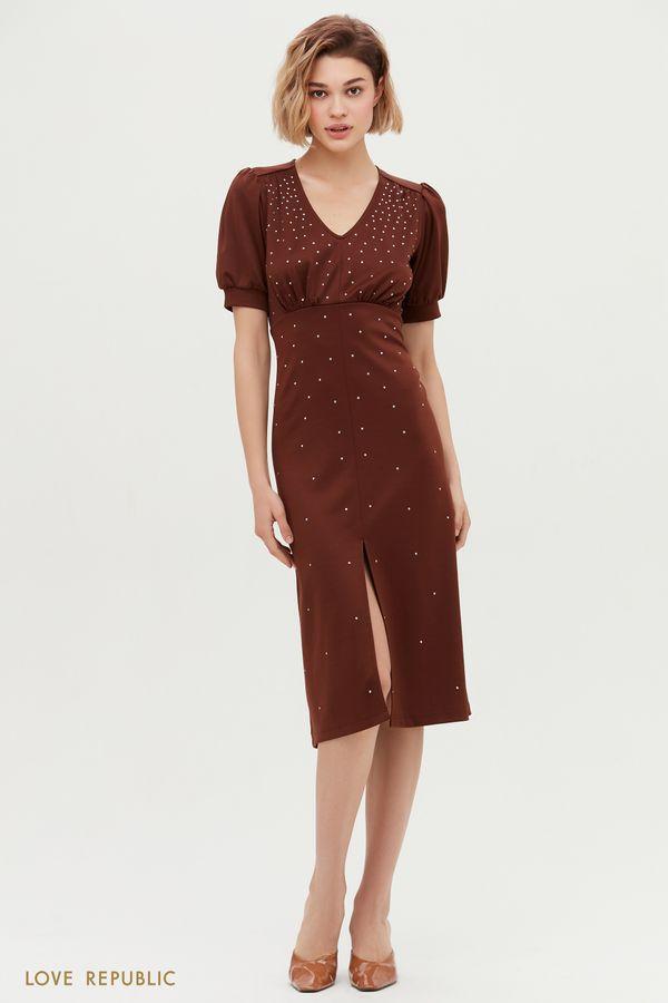 Чёрное платье миди с декоративными элементами и рукавами-фонариками 1152107509-50