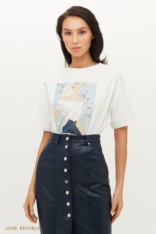 Выразительная футболка с арт-принтом 1152132342-1