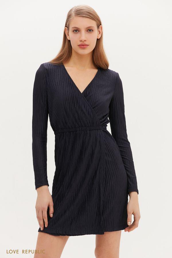 Женственное платье мини с запахом 1152143576-93
