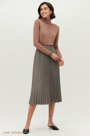 Плиссированная юбка длины миди с принтом