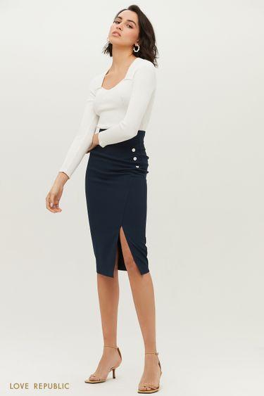 Тёмно-синяя юбка-футляр с небольшим вырезом на бедре 1152214212