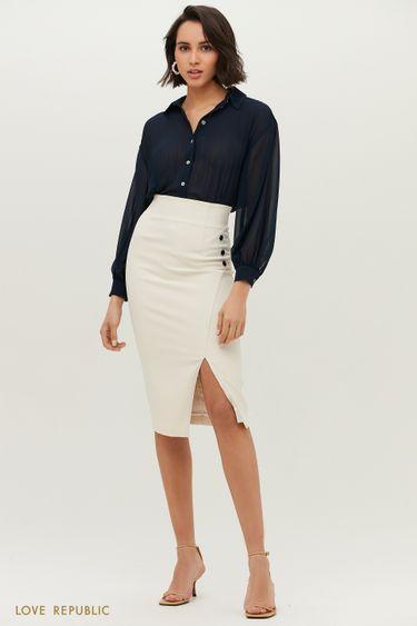 Молочная юбка-футляр с разрезом 1152214232